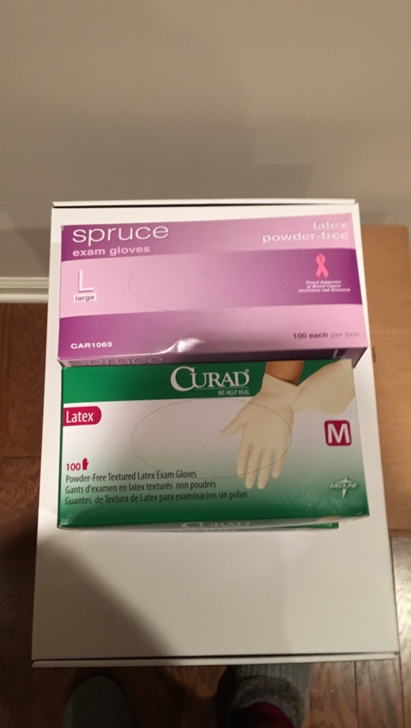 Powder free laytex gloves-new boxes not opened
