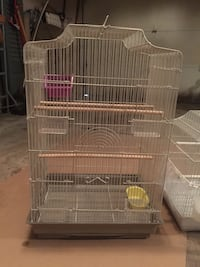 "Large white bird cage, 28""H x 17.5""W x 13""D"
