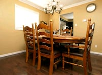 Solid wood dining table set with 6 chairs and hutc 540 km