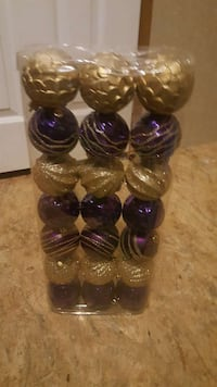 grey and purple baubles