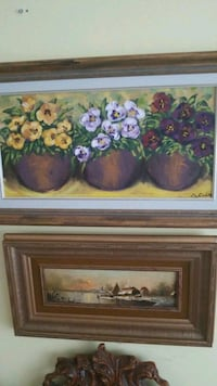 brown wooden framed painting of flowers Montréal, H3R 2E6