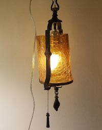 Primitive Rustic Iron and Amber Glass Hanging Lantern Pendant Light Council Bluffs