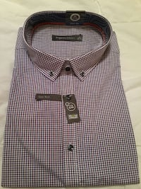 black white and red checked dress shirt