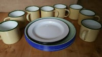 white and blue metal plates and cups London, N6E 2Y8