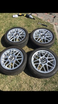"17"" Asa four chrome multi-spoke auto wheels with tires"