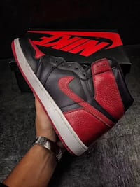 red and black Air Jordan 1 shoe 哈利法克斯, B3S 1H3