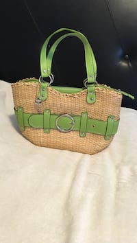 Brown-and-green crochet purse