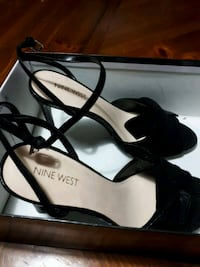 pair of black leather open toe ankle strap heels Surrey, V3T 3E2