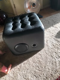 Tufted square ion sound lounge black leather ottoman Norfolk, 23503