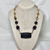 Authentic Stephen Dweck Sterling Silver Black Onyx Necklace