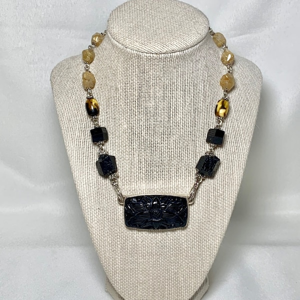 Stephen Dweck Sterling Silver Black Onyx Necklace