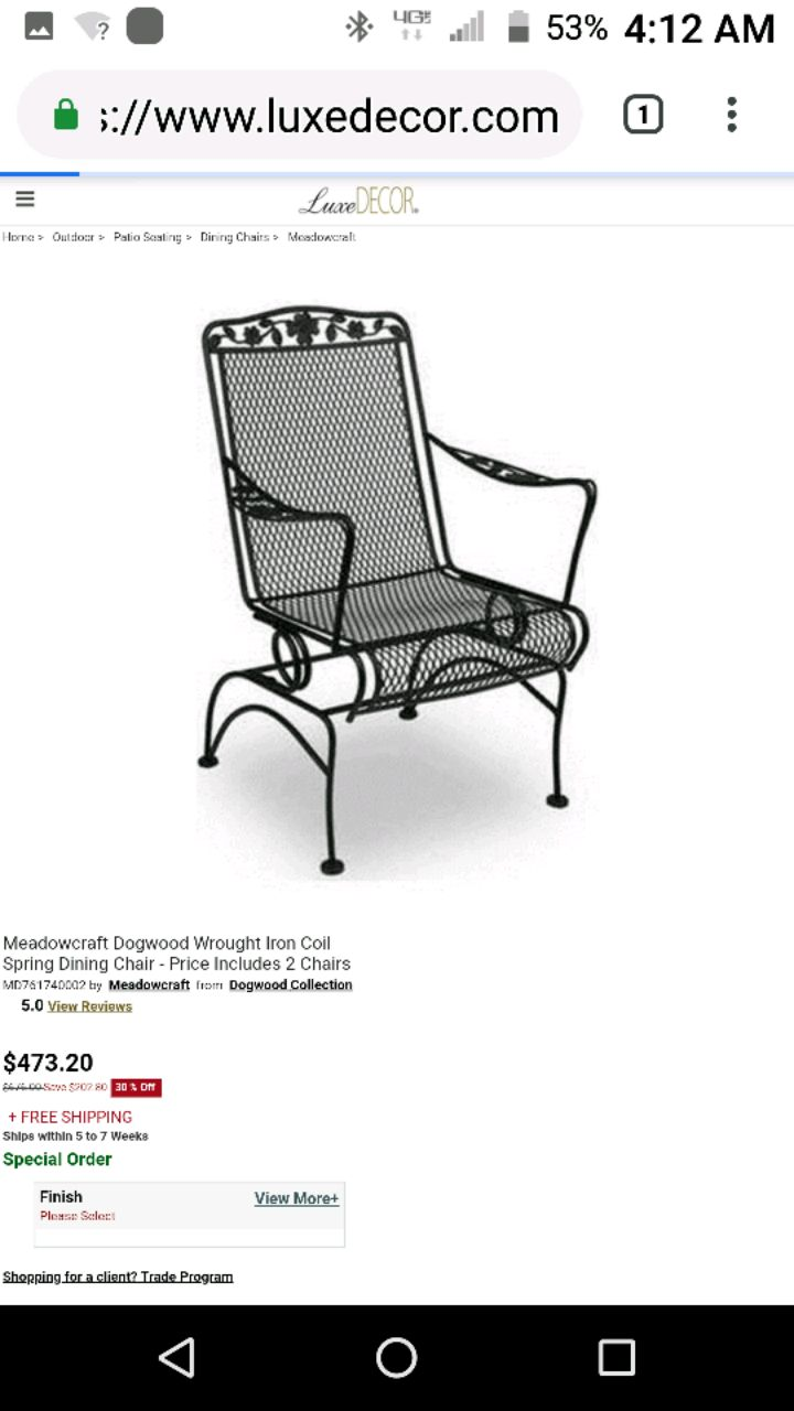 Meadowcraft Dogwood Wrought Iron Coil Spring Chair