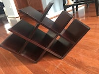 Black wooden framed glass top tv stand Broadlands, 20148