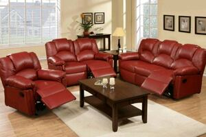 Red 3pc Reclining Leather Sofa Set