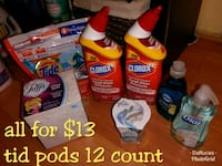 assorted Tide and Downy bottles
