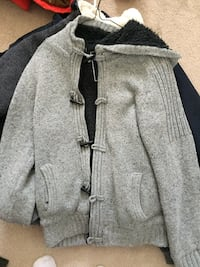 gray zip-up jacket