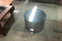 Large Glass Top Coffee Table w/ Silver Round Metal Base