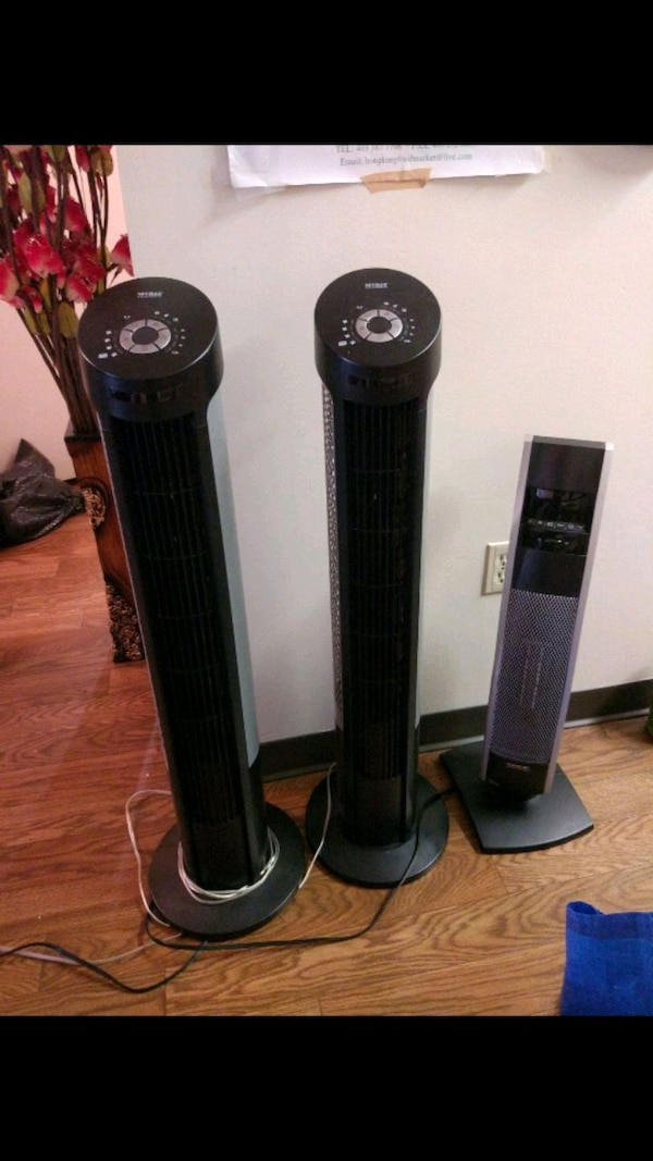 Tower fans and space heater