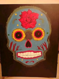 Canvas Acrylic Sugar skull painting
