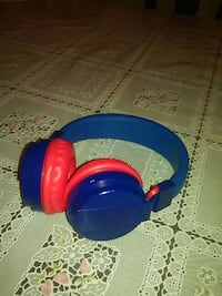 blue and red wireless headphones