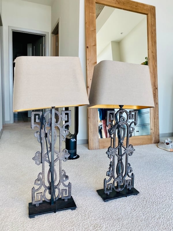 Restoration Hardware Greek Key Baluster Table Lamps (2) af94fbd3-21a4-433d-b27e-1d1bc7a6d80a