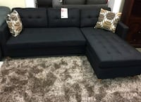 Brand New Black Linen Sectional Sofa Couch  Silver Spring