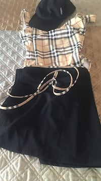 Authentic Burberry one piece swim matching skirt &hat