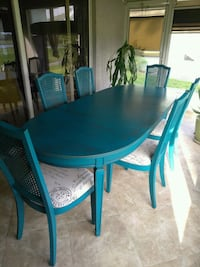 Shabby Chic Teal Dining/Card Table Palmetto, 34221