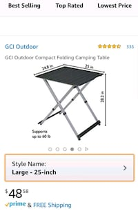 NEW GCI LIGHT WEIGHT CAMPING FOLDING TABLE FOR 4 Galloway, 43119