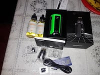 black and green Wismec variable box mod with box