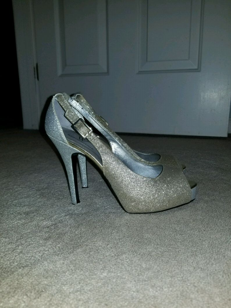 Prom shoes , silver and gold glitter heels
