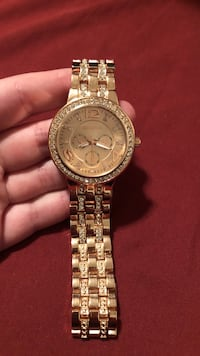 round gold-colored Geneva chronograph watch with linked bracelet Cedar Falls, 50613