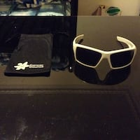white frame sunglasses with black pouch Viewbank, 3084