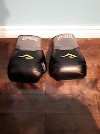 pair of black-and-gray Everlast boxing gloves