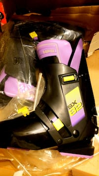 rare! salomon sx82 used once black purple ski boot 21 km