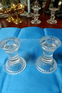 Pair of glass ribbed candle holder
