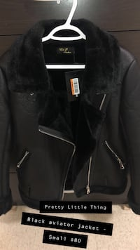 black leather zip-up jacket Toronto, M6M 5E7