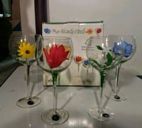 Set of 4 Hand Painted Wine Glasses. Made by Block  Fredericksburg, 22406