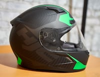 "HJC C-17 Motorcycle or Snowmobiling Helmet SNELL certified Size M - 58-59 7-1/4"" to 7-3/8"" in Black Green Newton"