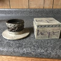 Stone candle  holder and decorative box with Bible verse and Hope Staunton, 24401