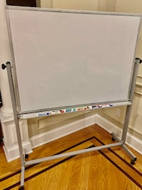 Double-Sided Magnetic Whiteboard, Aluminium Frame and Mobile Stand