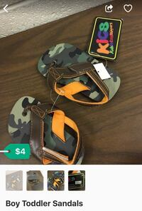pair of camouflage flip-flops for toddlers