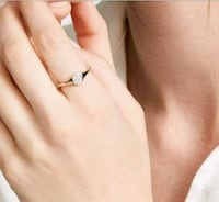 14kt yellow gold dainty diamonds signet ring Hudson, 54016