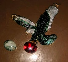Eagles Pendant/charm with either Ruby or green and white granite setti