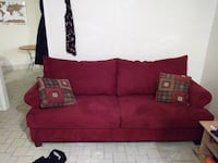 Red micro-suede couch set + chair (combo) Surrey