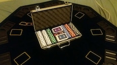 poker chip and card set in box