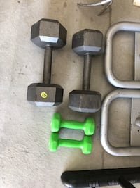 Two gray and green fixed weight dumbbells Omaha, 68118