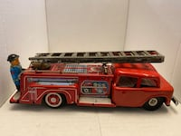 Vintage 1960 STI Tin Litho Friction Toy Fire Truck With Working Ladder & Bell