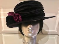 Black Velveteen hat with removable sash - only worn during photo shoot North Vancouver, V7K 1K7