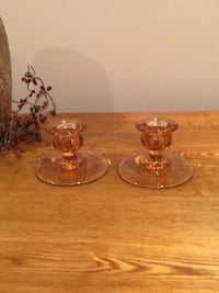 Vintage depression glass candle holders Barrie, L4M